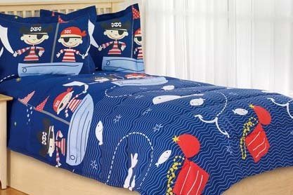 Boys Reversible Pirates Comforter Set, Twin - 1 Comforter & 1 Sham Pirates Cute!