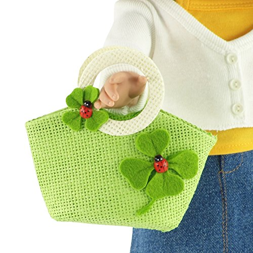 18-inch Doll Accessories | Doll-Sized Woven Green and Cream Ladybug Purse - Handbag | Fits American Girl Dolls - 1