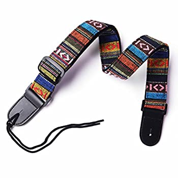 CYC Music UCS-02Hootenanny Style Guitar Straps Retro braided style 100% Cotton & Genuine Leather Adjustable length