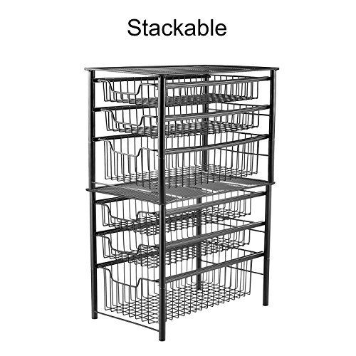 3S Stackable 3 Tier Sliding Basket Organizer Drawer,Mesh Cabinet Can Storage