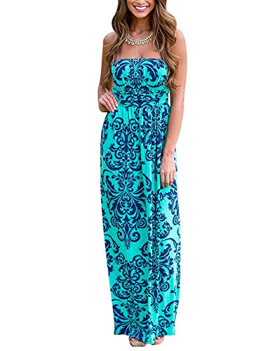 Leadingstar Women Strapless Floral Print Graceful Backless Prom Maxi Dress (Asian L, Green)
