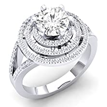 buy 10K White Gold Round Moissanite & White Diamond Ladies Halo Style Bridal Engagement Ring (Size 4)