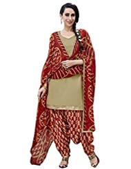 Desi Look Women's Beige Cotton Patiyala Dress Material With Dupatta