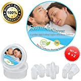 Snore Reliever - Premium Set of 6 with 2 Designs and 4 Sizes to Ensure a Secure Fit in Any Nasal Passages - The Best Solution to Prevent Snoring and Sleep Apnea and Solving Deviated Septum Problems