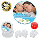 Snore Reliever - Premium Set of 6 with 2 Designs and 4 Sizes to Ensure a Secure Fit in Any Nasal Passages - The Best Solution to Prevent Snoring and Sleep Apnea, and Solving Deviated Septum Problems