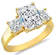 buy Size 6 - Solid 14K Yellow Gold 3 Three Stone Emerald-Cut / Shape Solitaire With Princess Cut Side Stones Highest Quality Cz Cubic Zirconia Engagement Ring 2.5Ct.