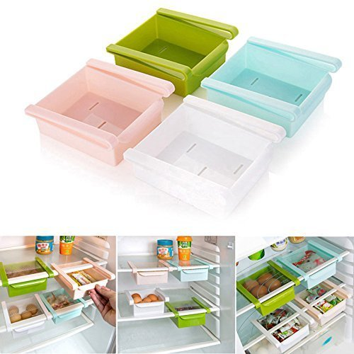 Celebrationgift Multi Purpose Fridge Storage Racks,Shelf For Easily Maintaining Your Extra Meals, Sweets, Chocolates, Double Up Your Space in Refrigerator (Pack of 4)(Multicolor0