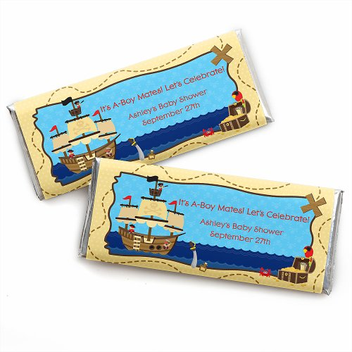 It'S A-Boy Mates! Pirate - Personalized Baby Shower Candy Bar Wrapper Favors front-27783