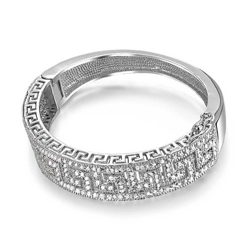 Bling Jewelry Pave Clear CZ Greek Key Bangle Bracelet Rhodium Plated