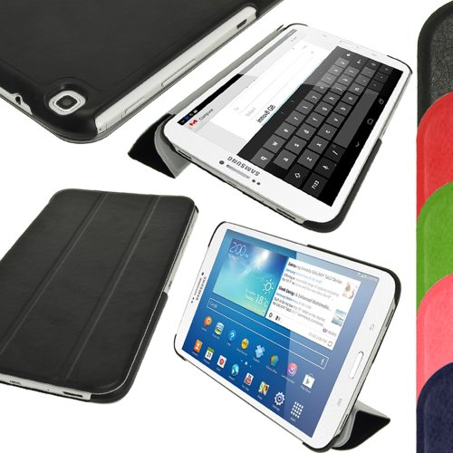 iGadgitz Black PU Leather with Hard Back 'Cover Mate Plus' Case for Samsung Galaxy Tab 3 8.0