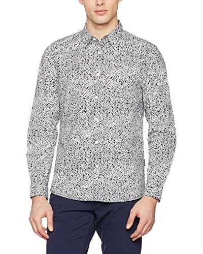 Guess Camisa Hombre Ls Party Printed Str Poplin Sh Blanco / Negro