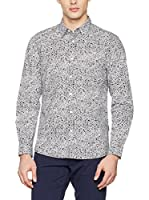 Guess Camisa Hombre Ls Party Printed Str Poplin Sh (Blanco / Negro)
