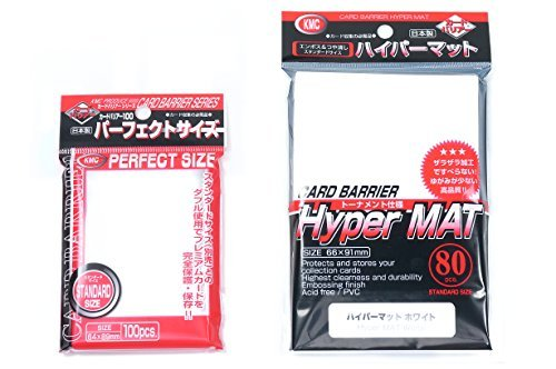 KMC Hyper Mat Sleeve White (80-Pack) + 100 Pochettes Card Barrier Perfect Size Soft Sleeves Value Set !
