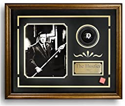 The Hustler. Billiard Movie Memorabilia. Game Room Decor (Photo, Plate, Real Pool Ball). Professionally Framed in the Custom Made Shadow Box Real Wood Walnut Frame (17.25 x 21.25)