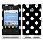 NextKin Polka Dots Hard Plastic Protector Snap-On Cover Case For LG Optimus Logic L35g Dynamic L38c - White Black