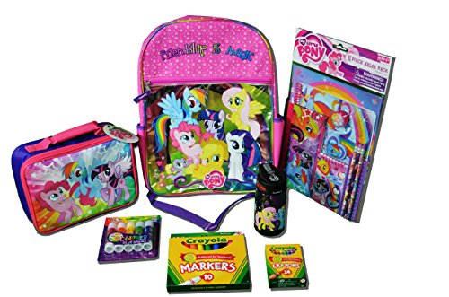 My Little Pony Bundle-17 Items Backpack Lunchbox Themos & School Supplies front-672791