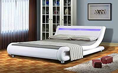 Comfy Living Faux Leather Bed Frame with LED Colour Light Strip in 5ft White