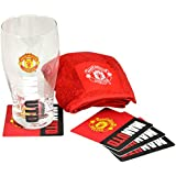 Manchester United FC Official Wordmark Mini Football Bar Set (Pint Glass, Towel & Beer Mats) (One Size) (Red/Black)
