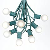 25 Foot G30 Outdoor Lighting Patio Globe String Lights - Frosted White - Green Wire - 25 Bulbs