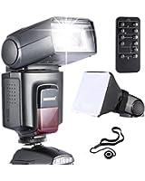 Neewer TT560 Flash Speedlite *Kit De luxe * pour Canon Nikon Sony Panasonic Olympus Fujifilm Pentax Sigma Minolta Leica et les Autres SLR Reflex Numérique Film SLR Camera avec Sabot de Single-Contact Comprend: (1)Neewer TT560 Speedlite Flashlight + (1)5 en 1 Télécommande pour Canon Nikon Sony Pentax+(1)Diffuseur Flash Pliable Universel+(1)Porte-Bouchon