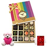 Valentine Chocholik Premium Gifts - Luxury Collection Of White And Dark Chocolate Box With Teddy And Love Card