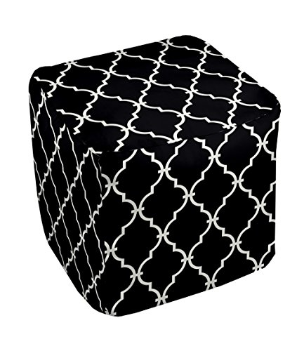 E by design FG-N6-Black-18 Geometric Pouf