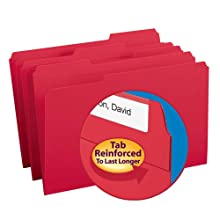Smead 1/3-Cut File Folders, Heavy Duty Reinforced Tab, Legal Size, Red, 100 Per Box  (17734)