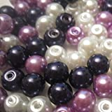 200 pieces 4mm Glass Pearl Beads - Lilac Mix - A0942