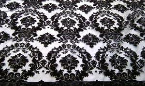 BLACK Damask Velvet Flock LACE/NET ORGANZA VOILE Curtains/Roman Blinds FABRIC Per Metre
