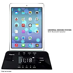 Fibonic Bluetooth Smartphone Docking Station-Portable Universal Mobile Cell Phone Dock, Speakers, Alarm Clock, Iphone, Ipad, Ipod, LG, Samsung, Nokia