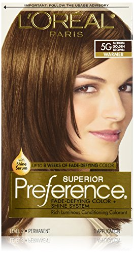 L'Oreal Paris Superior Preference Fade-Defying Color + Shine System, 5G Medium Golden Brown (Packaging May Vary)