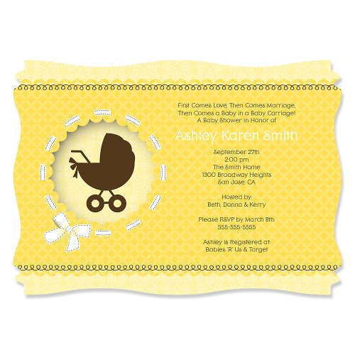 Neutral Baby Carriage - Personalized Baby Shower Invitations front-115280