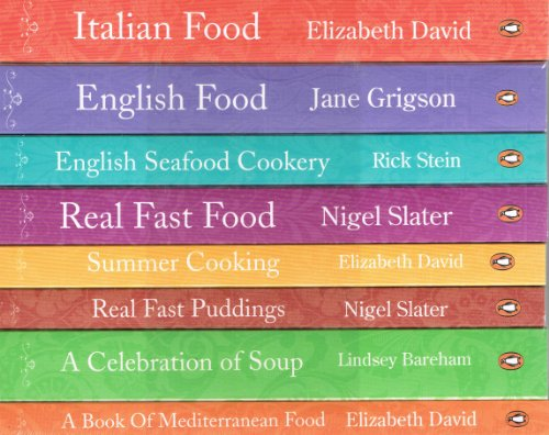 Penguin Cookery Library - 8 book collection pack: Italian Food, English Food, English Seafood Cookery, Real Fast Food, Summer Cooking, Real Fast Puddings, A Celebration of Soup and A Book of Mediterranean Food rrp £71.92