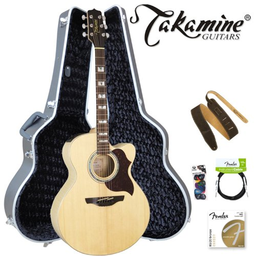 Takamine EG523SC-6-Kit Jumbo Cutaway 6-String Acoustic Electric Guitar Kit with Planet Waves Strap, 10ft Planet Waves Guitar Cable, 16-Pick Sampler Pack and Takamine Jumbo Hard Case