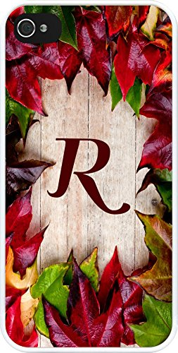 Rikki Knighttm Rikki Knight - Letter R Monogram Initial Rustic Fall Leaves On Wood Flooring Background Design Iphone 5 & 5S Case Cover (White Rubber With Bumper Protection) For Apple Iphone 5 & 5S front-606616