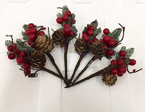 6-pezzi-pick-fiore-pigna-e-bacche-rosse-da-13-cm-decorazione-albero-natale-fiori-di-natale