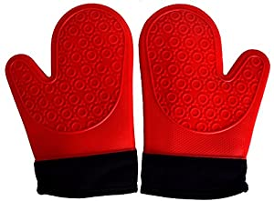 Atlas and Apollo Silicone Oven Mitts Heat Resistant Oven Gloves - Red Pot Holders for Grilling Cooking and Baking - Deluxe Padded Cotton Liner for Extra Protection - Non Stick Grip Glove 1 Pair Set