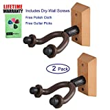 WINGO Wooden Guitar Hanger for Home & Studio with Wood Base,Free cloth & 5picks --2 pcs Pack