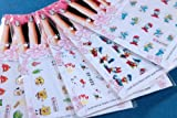 Fun & Colorful Popular Character Water Nail Tattoo Stickers Decals - Hello Kitty, Smurf, Donald Duck, Spongebob & More - 5-pack Mixed Designs With Extra