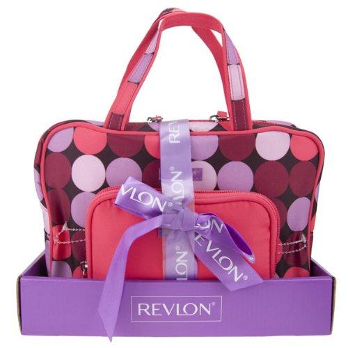 revlon-2-piece-tote-weekend-bag-polka-dot-gift-set