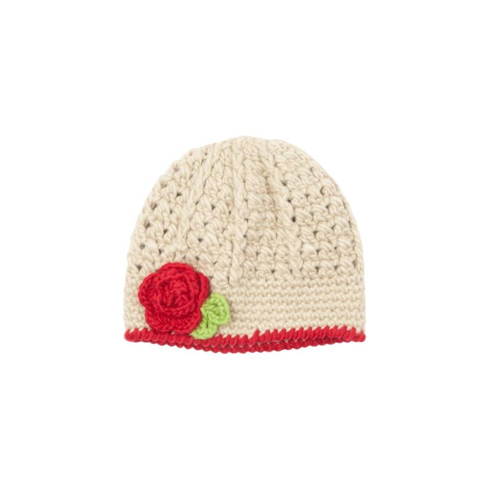 Luxury Lane Little Girls Beige Knit Skull Cap with Flower Accent Clothing