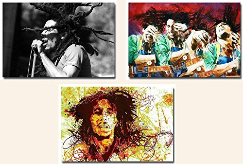 Punk Seattle Bob Marley - 3 Piece Classic Music Singer Canvas Poster Set 24X36 Inch (Bob Marley Painting compare prices)