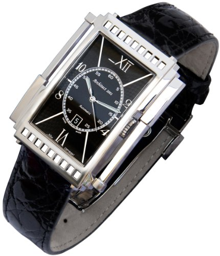 Xezo Mens Architect Swiss Made Curved Automatic Watch. Genuine Black Crocodile Leather. 165 Ft Wr