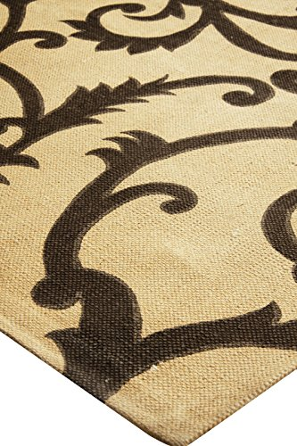 Global Accents Satin Collection - (4'x6') Branches Leaves Trellis Cotton Flat Weave Pattern Accent Royal Area Rugs for Living, Indoor & Dining Room with Decorative Printed Patterns, Fabric Backing, Size 4'x6', Color Beige Ivory Brown - Floral Rug - Leave Rug - Made in India