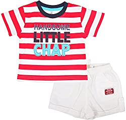 Toffy House Baby Boys' T-Shirt With Trousers Set (104_24-36month, Red, 24-36month)