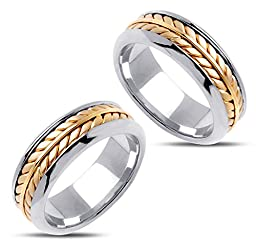 14k White and Yellow Gold Couples Wedding Rings 8 Mm