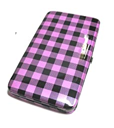 Flat Wallet Checker Print with Zipper Pocket, Id Photo Slots and Choice of Colors (Purple)