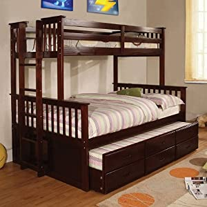 Amazon.com - Twin over Full Captains Bunk Bed with Trundle and Storage Drawers - Cappuccino