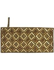 Golden Beaded Sequins Zipper Pouch