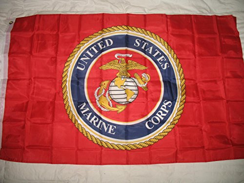3X5 Usmc Seal Crest Marine Corps Delis Red Flag 3'X5' Banner (Deli Banner compare prices)
